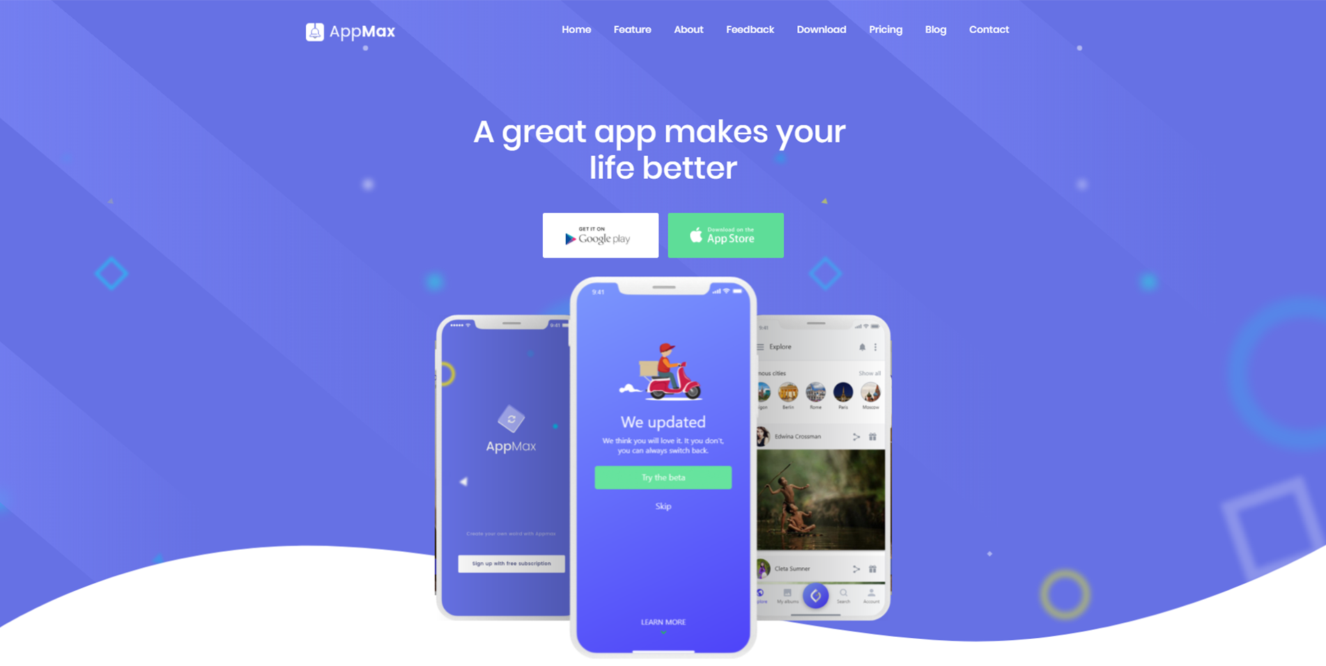 AppMax Awesome App Landing Page Pixiefy Themes